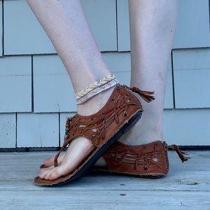Vintage Brown One-Strap Sandals